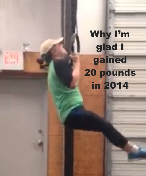 I gained 20 pounds in 2014 but dropped a pant size.  Thanks to Sharonda M. for the photo of my ring strict pull-ups.