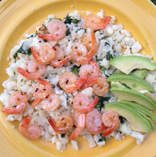 cauliflower rice avocado and shrimp